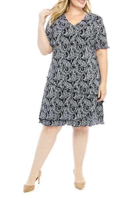 Plus Size Short Sleeve Tier Bodre Print Dress