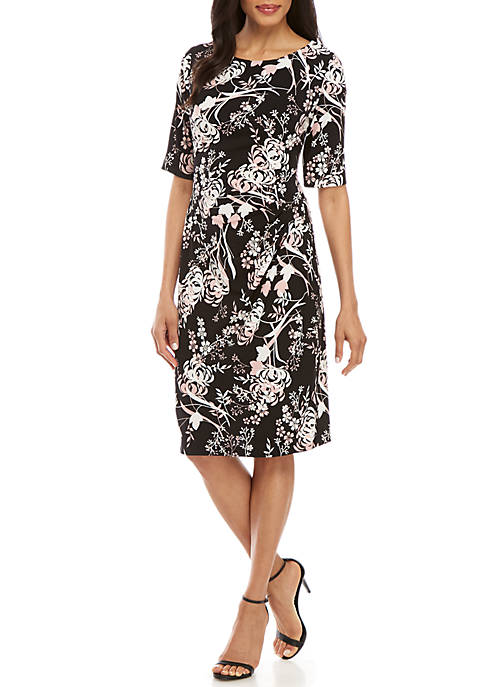 Connected Apparel Elbow Sleeve Floral Side Ruched Dress