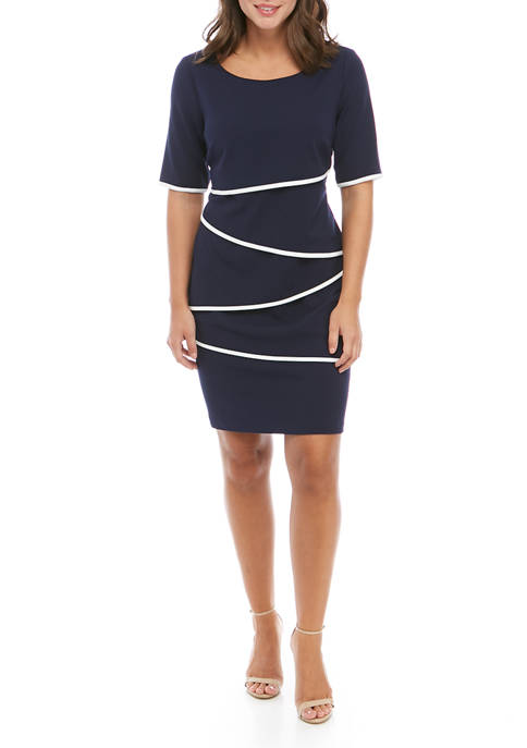 Womens Short Sleeve Tiered Dress with Piping