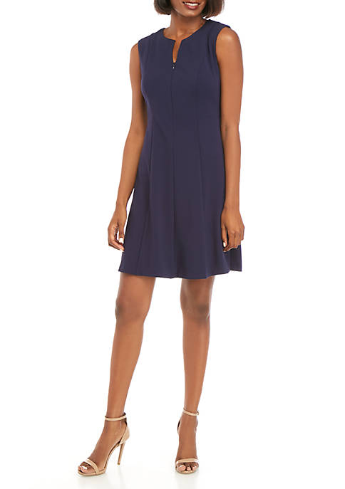 Connected Apparel Sleeveless Crepe Fit and Flare Dress
