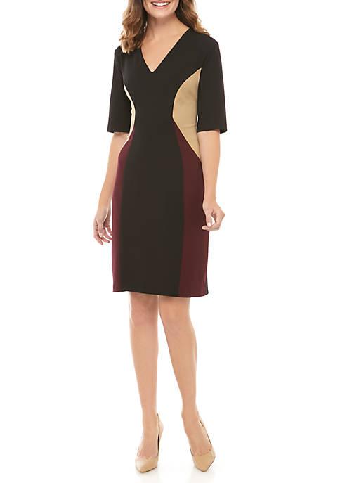Short Sleeve Color Block Dress