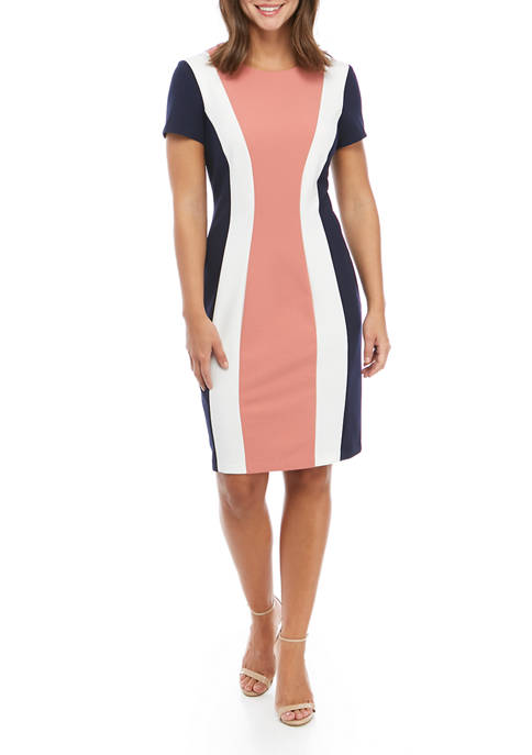Connected Apparel Womens Color Block A Line Dress