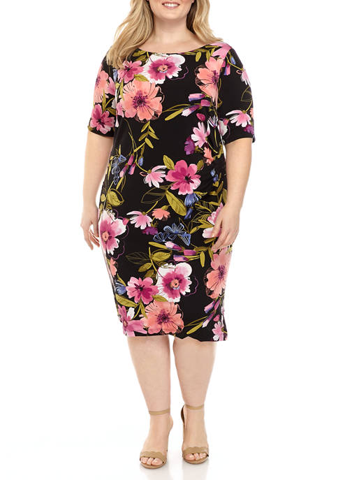 Plus Size Elbow Sleeve Side Ruche Floral Dress