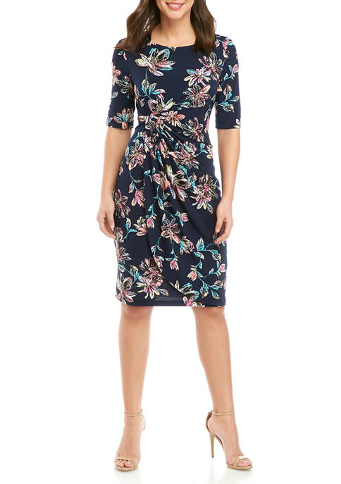 Womens Elbow Sleeve Side Ruched Floral Print Dress