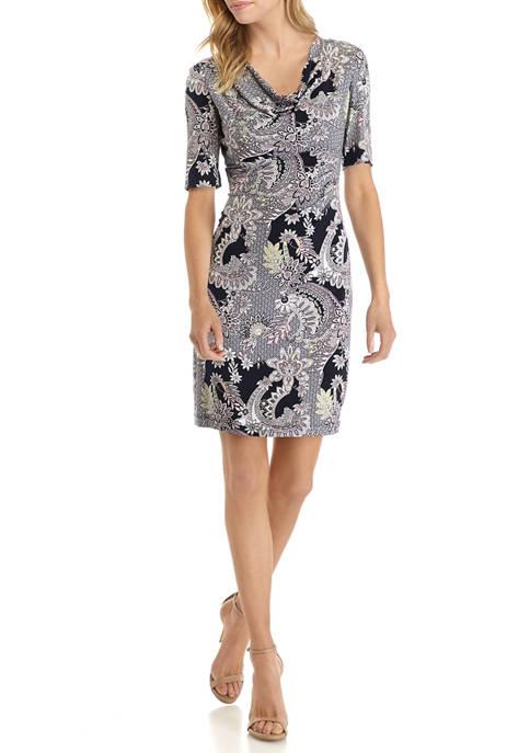 Petite Elbow Sleeve Paisley Cowl Neck Dress