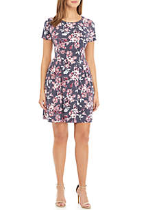 Connected Apparel Cap Sleeve Side Ruched Dress