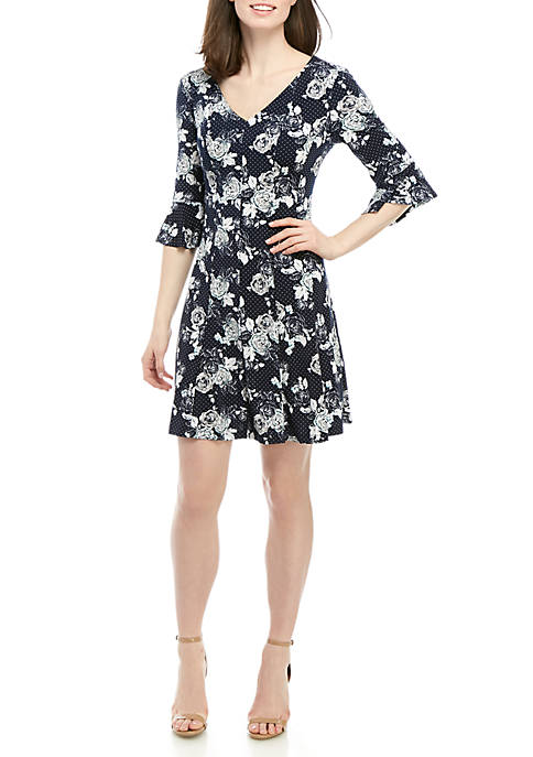 3/4 Bell Sleeve V Neck Fit And Flare Dress