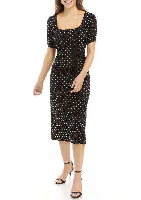 Connected Apparel Womens Ruched Sleeve Polka Dot Square