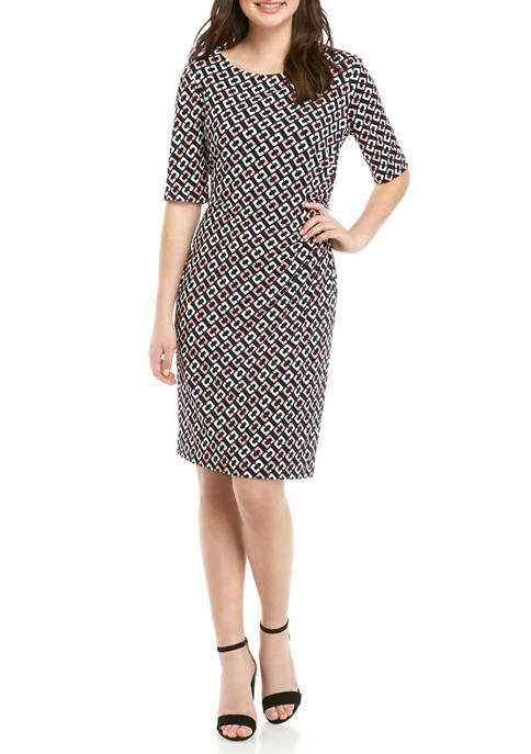 Womens Elbow Sleeve Side Ruched Geometric Print Dress