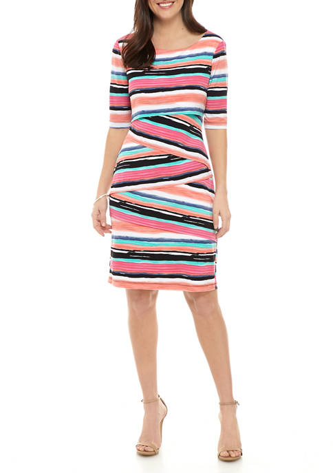Connected Apparel Womens Multi Stripe Tiered Sheath Dress