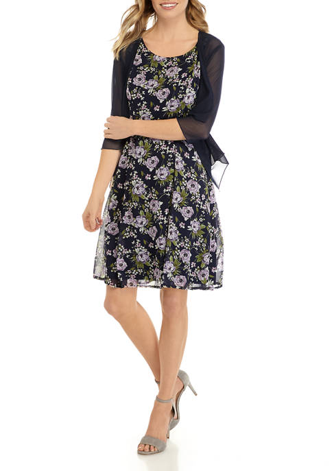 Petite 3/4 Sleeve Cardigan and Floral Fit and Flare Dress
