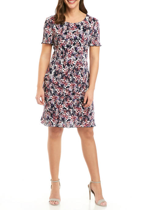 Connected Apparel Womens Short Sleeve Floral Dress