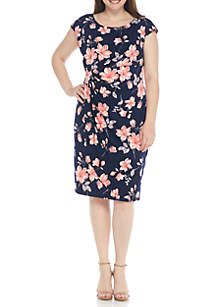 Plus Size Cap Sleeve Ruched Side Floral Dress