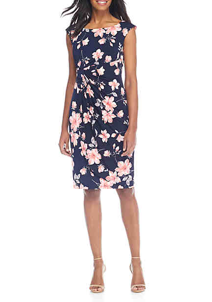 Connected Apparel Cap Sleeve Ruched Floral Print Dress ...