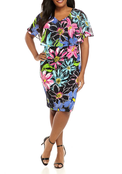 Connected Apparel Plus Size Floral Cape Sheath Dress