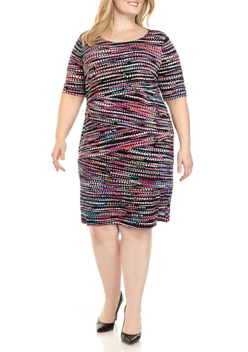 Connected Apparel Plus Size Elbow Sleeve Printed Sheath