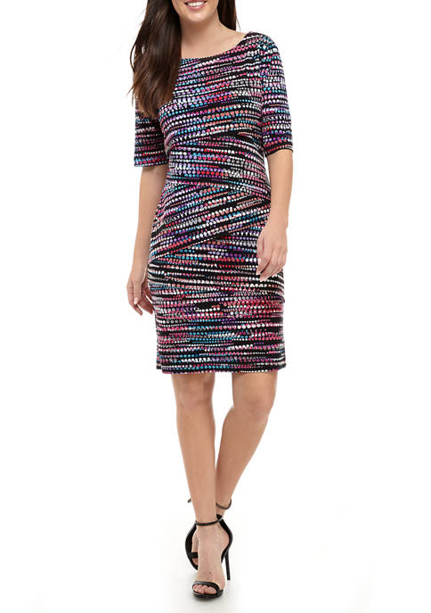 Connected Apparel Womens Elbow Sleeve Printed Sheath Dress