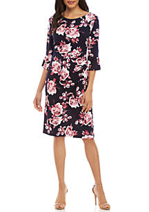 Connected Apparel Flare Sleeve Side Ruche Dress