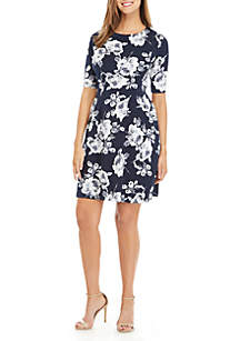 Connected Apparel Short Sleeve Floral Fit and Flare Dress