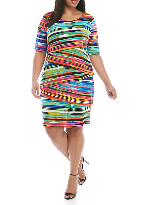Connected Apparel Plus Size Short Sleeve Layered Stripe