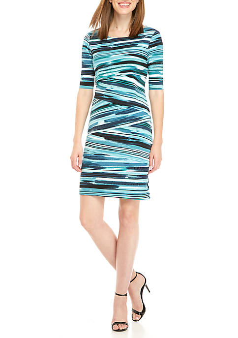 Connected Apparel Short Sleeve Layered Stripe Dress