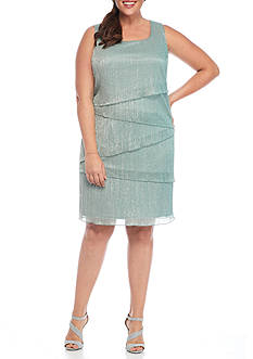 Connected Apparel Plus Size Metallic Tiered Shift Dress