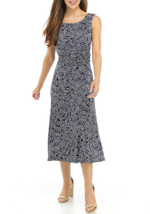 Connected Apparel Womens Sleeveless Floral Ruched Waist Midi