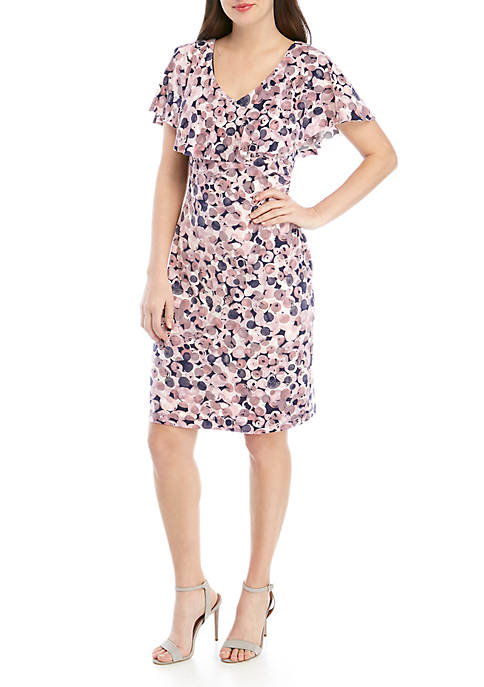 Connected Apparel Ruffle Neck Side Ruch Dot Dress