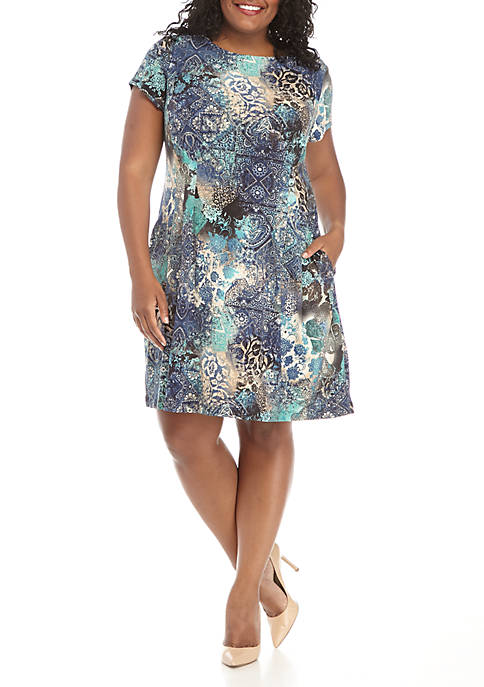 Connected Apparel Short Sleeve Multi Color Print Dress