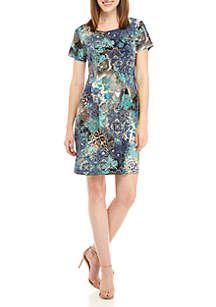 Short Sleeve Multi Color Print Dress
