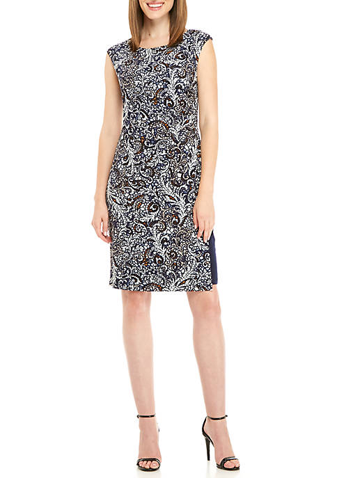 Connected Apparel Cap Sleeve Paisley A-Line Dress