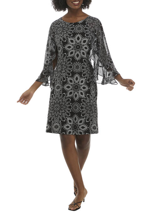 Connected Apparel Womens Flutter Sleeve Medallion Print A-Line