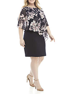 Connected Apparel Plus Size Chiffon Cape Overlay Dress