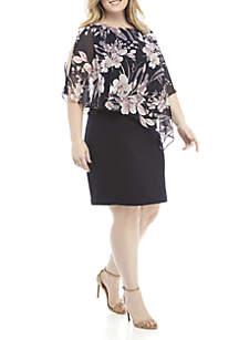 Plus Size Chiffon Cape Overlay Dress