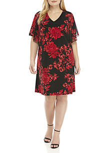 Plus Size Chiffon Flutter Sleeve Dress