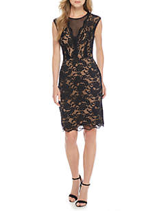 Illusion V-Neck Bonded Lace Sheath Dress