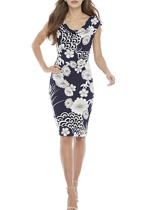Connected Apparel Cap Sleeve Drape Neck Oriental Dress