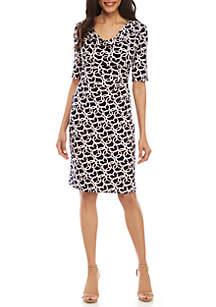 Connected Apparel Elbow Sleeve Drape Neck Puff Print Dress