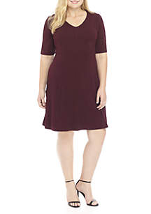 Plus Size Short Sleeve V-Neck Textured Fit-And-Flare Dress