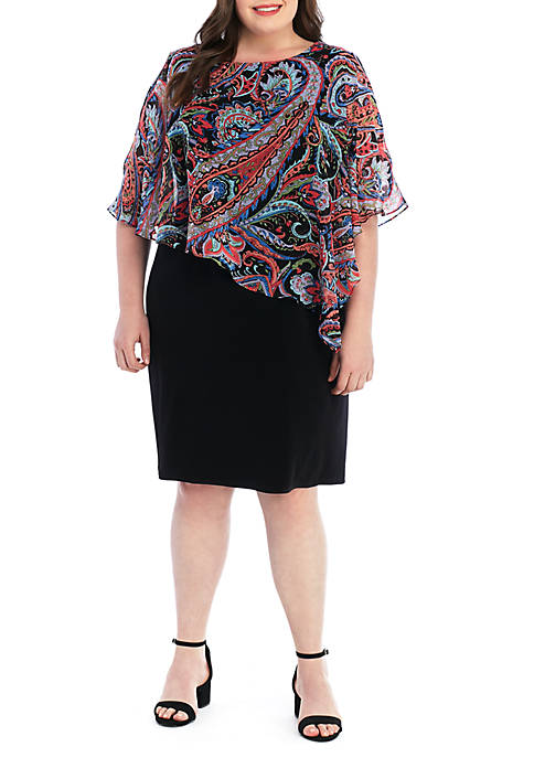 Connected Apparel Plus Size Paisley Chiffon Overlay Dress
