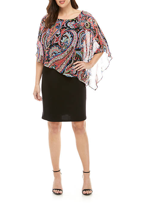 Connected Apparel Paisley Chiffon Overlay Dress