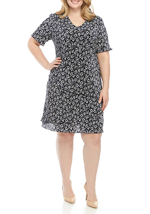 Connected Apparel Plus Size Short Sleeve Small Floral
