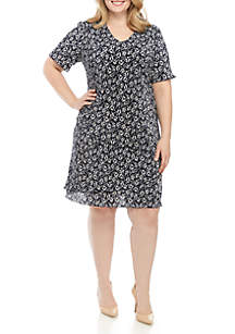 17e8c1bc3df ... Connected Apparel Plus Size Short Sleeve Small Floral Tiered Bodre Dress