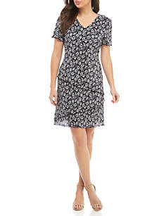 Connected Apparel Short Sleeve Smocked Floral Tiered Dress