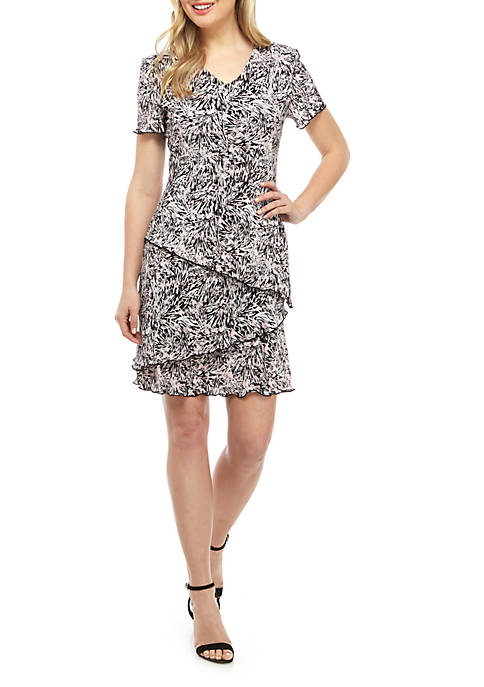 Connected Apparel Short Sleeve Bodre Abstract Floral Dress