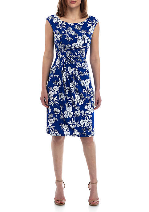 Connected Apparel Short Sleeve Side Ruche Floral Dress