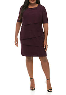 Connected Apparel Plus Size Layered Dress