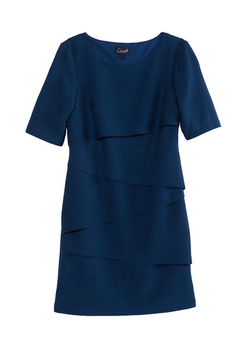 Womens Short Sleeve Layered Solid Dress