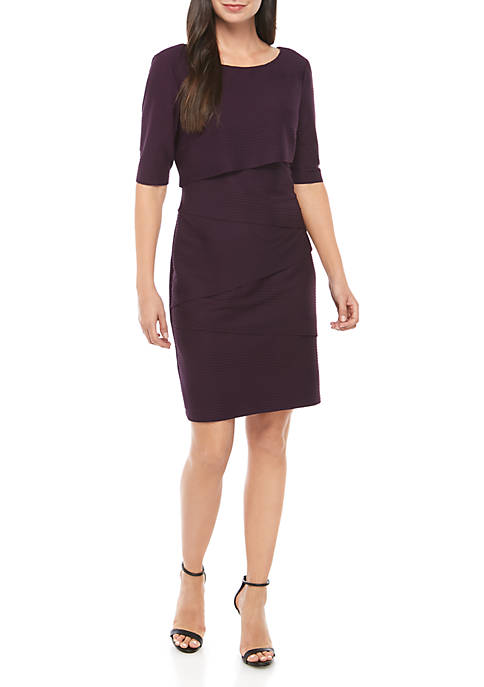 Connected Apparel Womens Short Sleeve Layered Solid Dress