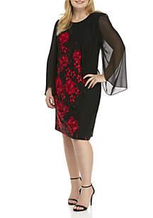 Plus Size Floral Print Chiffon Sleeve Dress